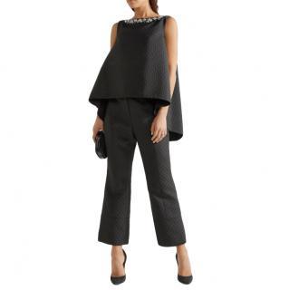 Erdem black jacquard mid rise trousers