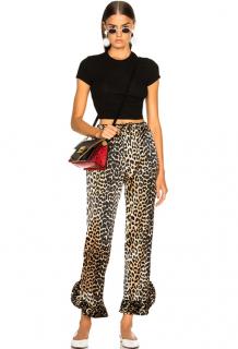Ganni Silk Leopard Print Calla Pants
