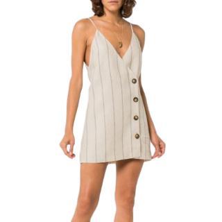 Reformation Cayman blue & cream stripe mini dress