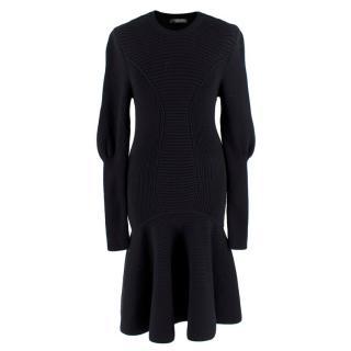 Alexander McQueen Chunky-knit Peplum Dress