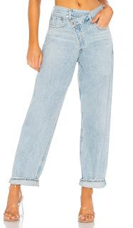Agolde light blue Asymmetric criss cross upsized jeans