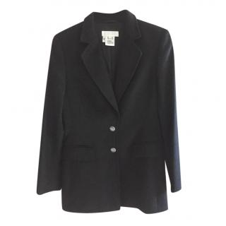 Escada black rabbit blazer jacket