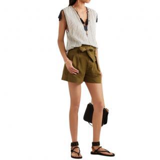 Isabel Marant Etoile Oscar khaki cotton twill shorts