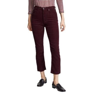 Agolde high rise burgundy corduroy trousers
