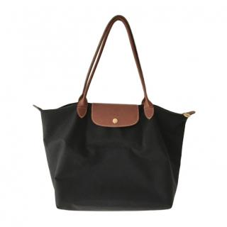 Longchamp black canvas & leather trim tote bag
