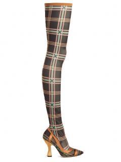 Fendi tartan-print mesh sock thigh high boots