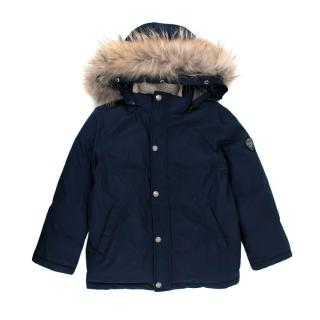 Bonpoint 6Y Racoon Fur Trim Puffer Jacket