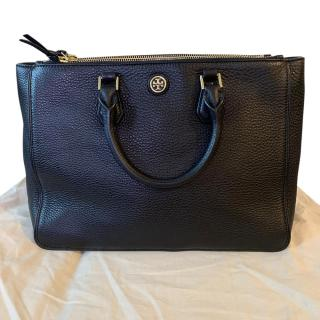 Tory Burch Robinson black leather square tote bag