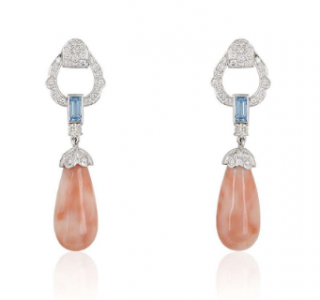 Bespoke White Gold Coral, Diamond and Topaz Drop Earrings