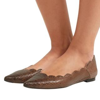 Chloe Lauren scalloped snake effect leather pointed flats