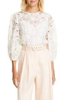 Zimmermann Lace Puff Sleeve Top