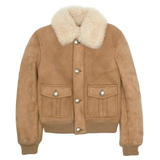 Gucci Suede Shearling Trim Tan Jacket