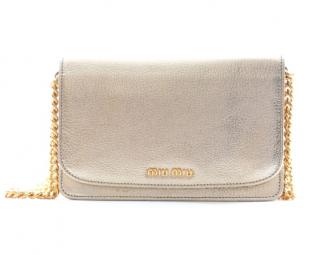 Miu Miu Silver Grained Leather Crossbody Bag