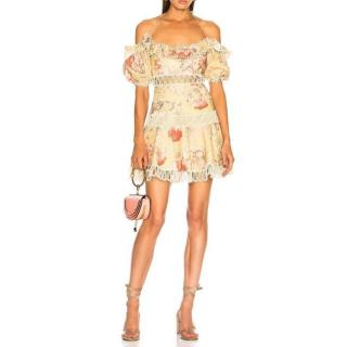 Zimmermann yellow melody embroidered off-shoulder dress