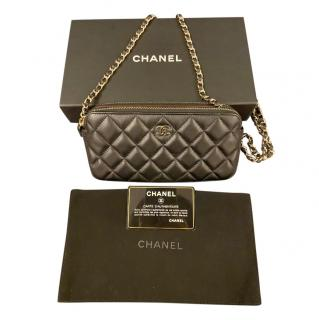 Chanel double zip black lambskin wallet on a chain