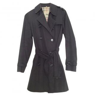 Burberry Heritage black cotton three quarter length trench coat