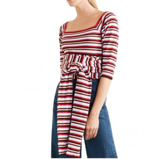 Isa Arfen striped cotton wrap top