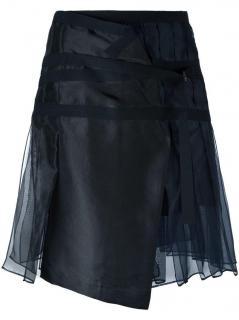 Sacai black & blue pleated wrap skirt