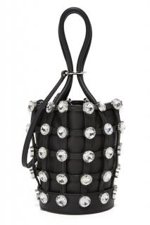 Alexander Wang crystal-studded webbed leather bucket bag