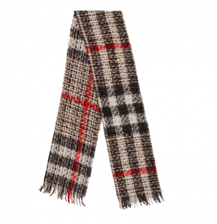 Burberry beige Nova check wool & mohair blend tweed scarf
