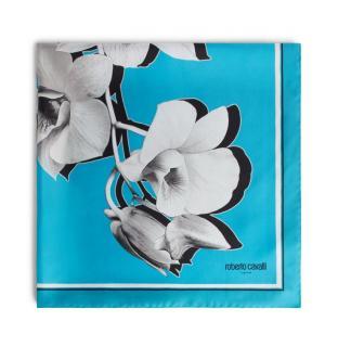 Roberto Cavalli turqouise orchid print silk scarf