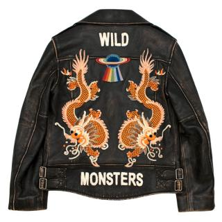 Gucci Kids Wild Monsters Leather Embroidered Jacket