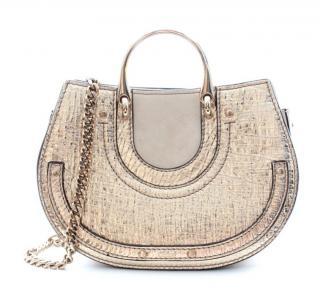 Chloe gold metallic leather pixie saddle bag