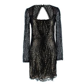 Emilo Pucci Black & Gold Lace Mini Dress