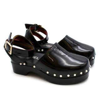 Chanel Black Patent Clogs with Ankle Strap