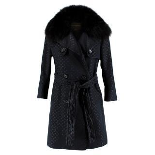 Louis Vuitton Monogram Black Trench Coat with Fox Fur Collar