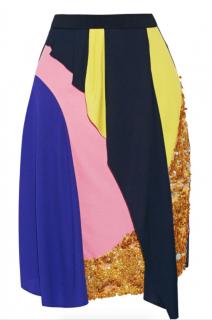 Peter Pilotto Patchwork Draped Silk Skirt