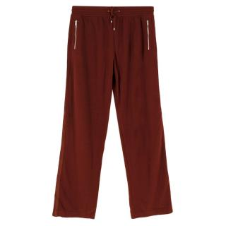 Hermes Burgundy Cashmere Wide Leg Pants