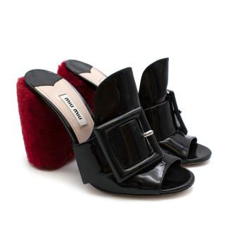 Miu Miu Patent Leather Mules with Sheep Fur Block Heel