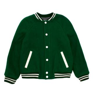 Bonpoint Green Wool Embroidered Varsity Jacket