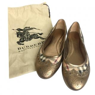 Burberry Gold Leather Nova Check Ballerina Flats