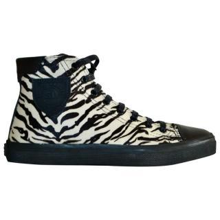Saint Laurent pony hair zebra print mid-top laced sneakers