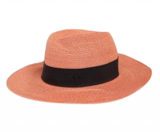 Maison Michel Virginie coral grosgrain-trimmed straw hat