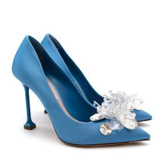 Miu Miu Crystal Embellished Blue Satin Pumps