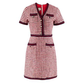 Gucci Red & Blue Woven V-neck Wool Dress