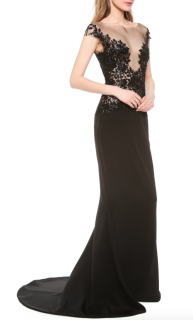 Reem Acra Black Embroidered Illusion Gown