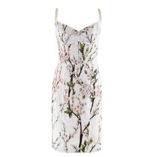 Dolce and Gabbana White Floral Bustier Dress