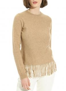 MaxMara fringed cashmere & wool blend sand jumper