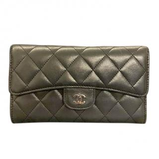 Chanel black leather long classic flap wallet