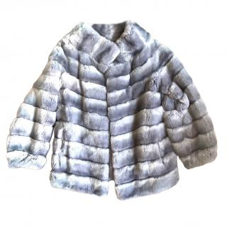 N.Peal grey rabbit fur coat
