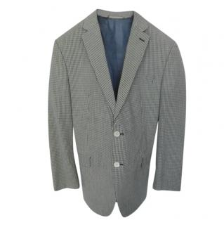 Ralph Lauren black & white gingham single breasted blazer