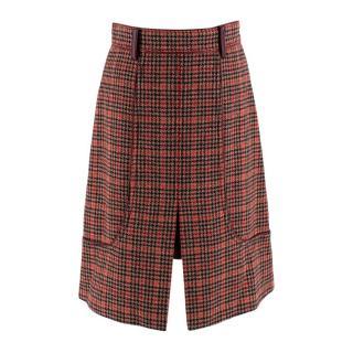Prada Orange Leather-trimmed Houndstooth Tweed Skirt