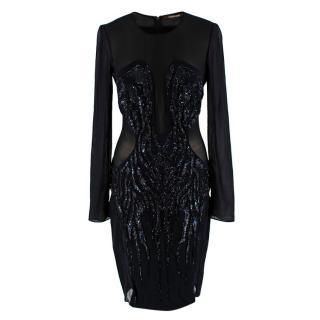 Roberto Cavalli Black Sequin Embellished Sheer Dress