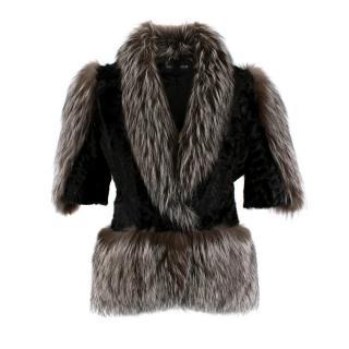 Holt Renfrew Astrakhan & Racoon Fur Jacket