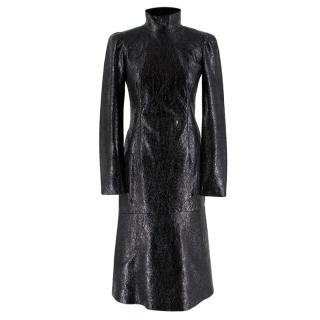 Gucci Crackled Patent Leather High Neck Dress