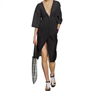 Zero+ Maria Cornejo black semi-sheer pliss kimono